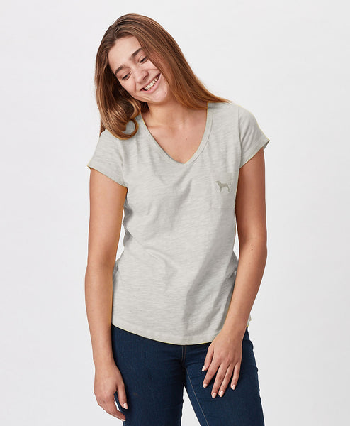 Ladies Vintage Pure Vneck Pocket Tee