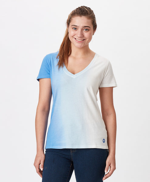 Ladies Seaside Ombre V Neck Tee