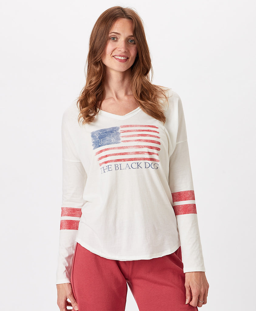 Ladies Edgartown Flag Longsleeve Courtside Tee