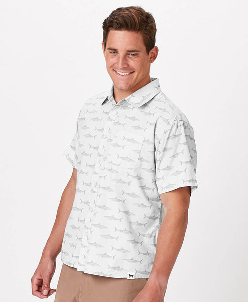 Mens Beachfront Woven Shark Print Shirt