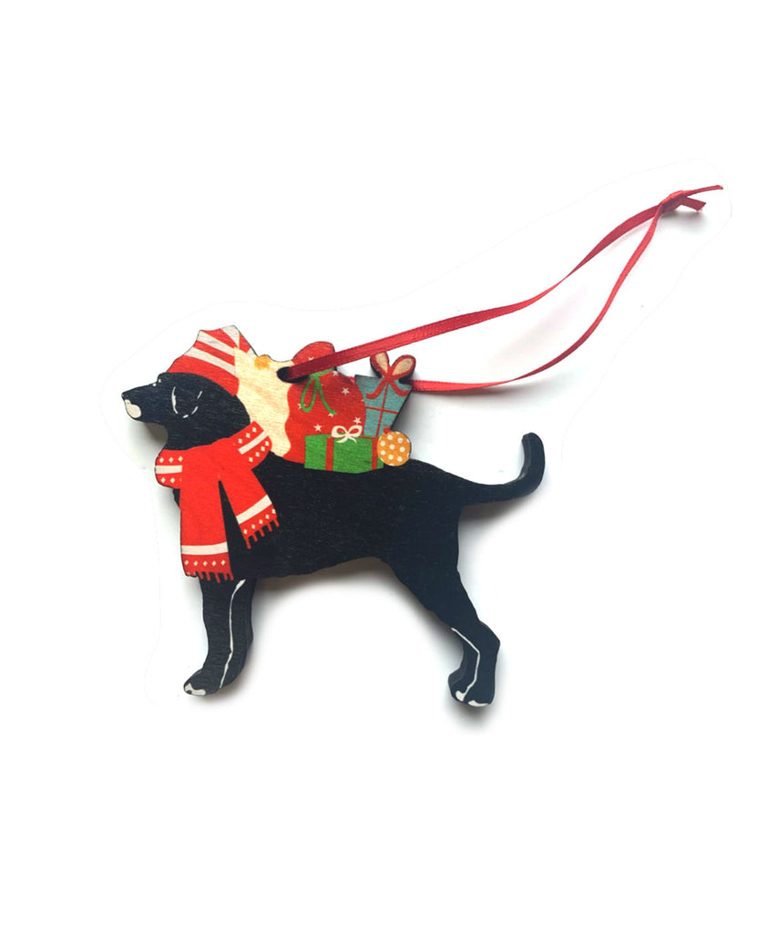 Dog with Presents Ornament
