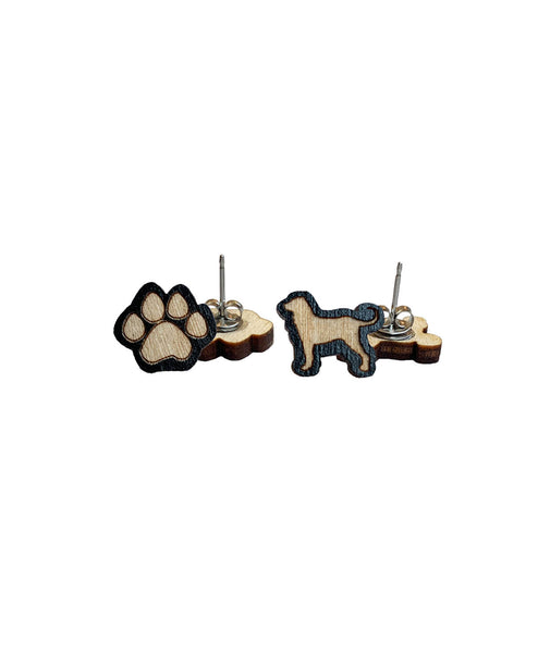 Dog & Paw Woodcut Earrings