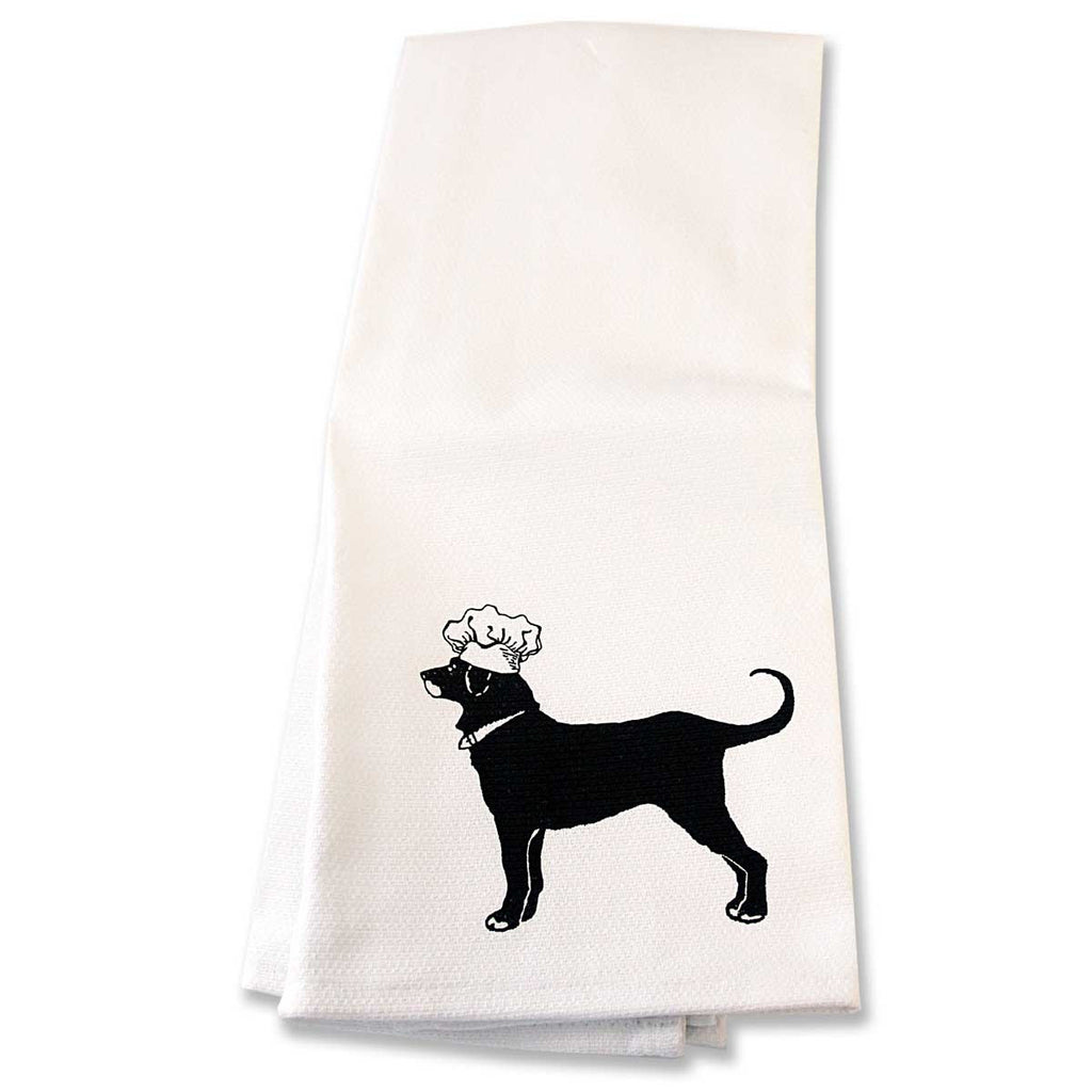 Black Dog Dish Towel