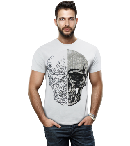 HTTS-29053-MEN'S RHINESTONE STUDDED T-SHIRT