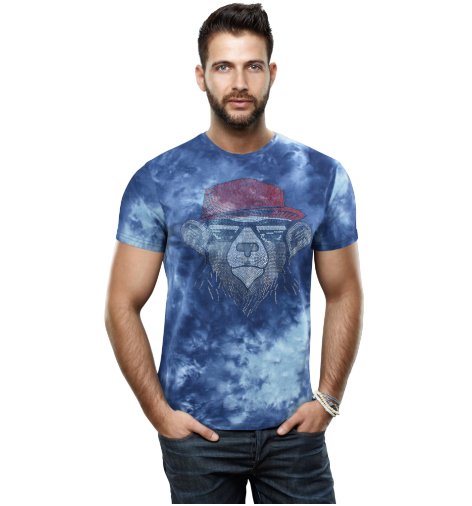 HTTS-29234-MEN'S MULTI COLORED STONE T-SHIRTS