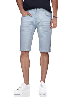 CMS-98327 | Men's Stretch Denim Shorts, Light Wash Blue