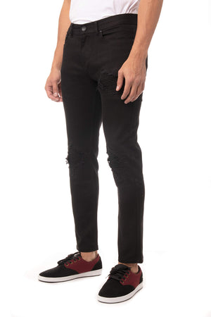 RXP-99394 | Men's Slim Skinny Fit Ripped Jeans, Rips Moto Patched