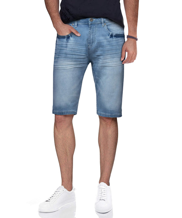 CMS-99077 | Men's Stretch Denim Shorts, Light Blue