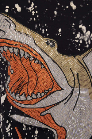 HTTS-20071 | Men's Rhinestone Studded Tee, Shark
