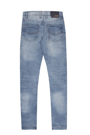 BCP-99094 | CULTURA Skinny Jeans for Boys Teens Distressed Denim Pants, Medium Blue With Copper Accent