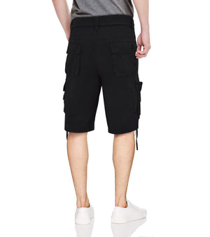 RMS-19023 BELTED CARGO SHORTS W/ TWILL PIPPING