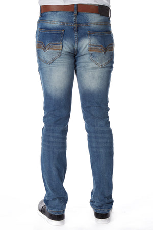 CMP-98080| Heavy Washed Clean Belted Jean
