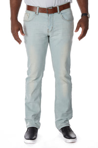 CMP-98082| Clean Belted Heavy Wash Light Blue Jean