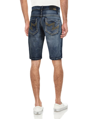 CMS-99301-MEN'S DETAILED SADDLE STITCH DENIM SHORT