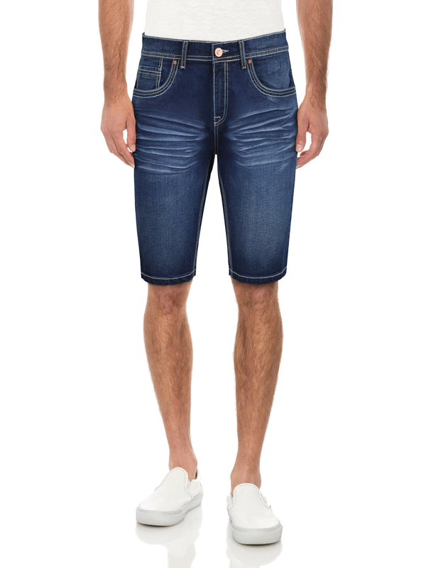 CMS-99302-MEN'S WRINKLE SADDLE STITCH DENIM SHORT