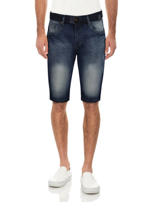 CMS-99397-MEN'S BELTED DENIM SHORT