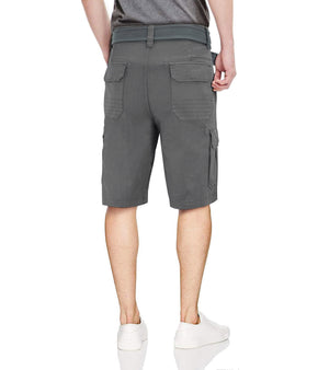 RMS-19024| BELTED CARGO SHORTS WITH ZIPPER