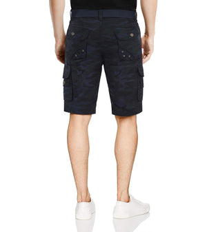 XMS-17010-MENS BELTED TWILL TAPE CARGO SHORTS