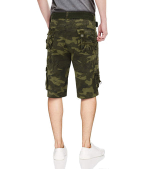 XMS-19027-MENS BELTED CARGO SHORTS WITH D-RING