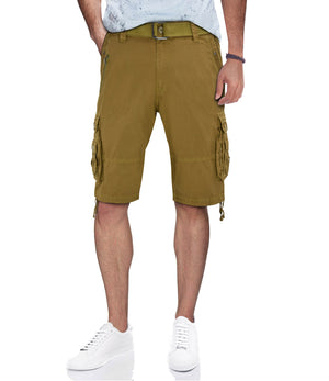 XMS-19030 | MENS BELTED CARGO SHORTS WITH ZIPPER DETAIL