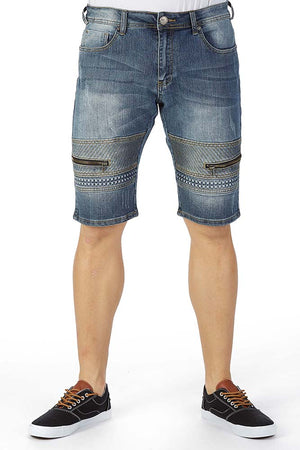 XMS-9735-MEN'S  ZIPPED DESIGN DENIM SHORT