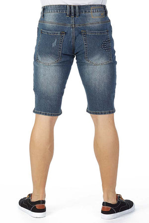 XMS-9736-MEN'S MOTO DENIM SHORT