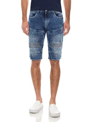 XMS-98138-MEN'S MOTO FRAYED DENIM SHORT