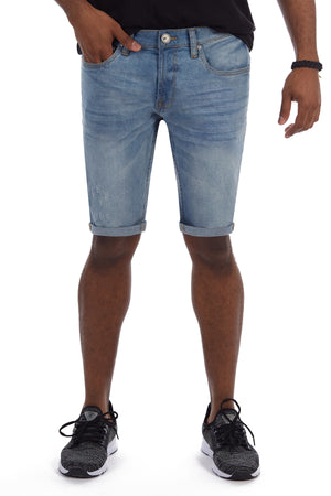 XMS-98317-MEN'S ROLL CUFF DENIM SHORT