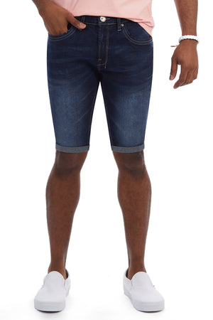 XMS-98321-MEN'S ROLL CUFF DENIM SHORT