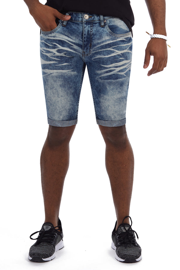 XMS-98323-MEN'S ROLL CUFF DENIM SHORT