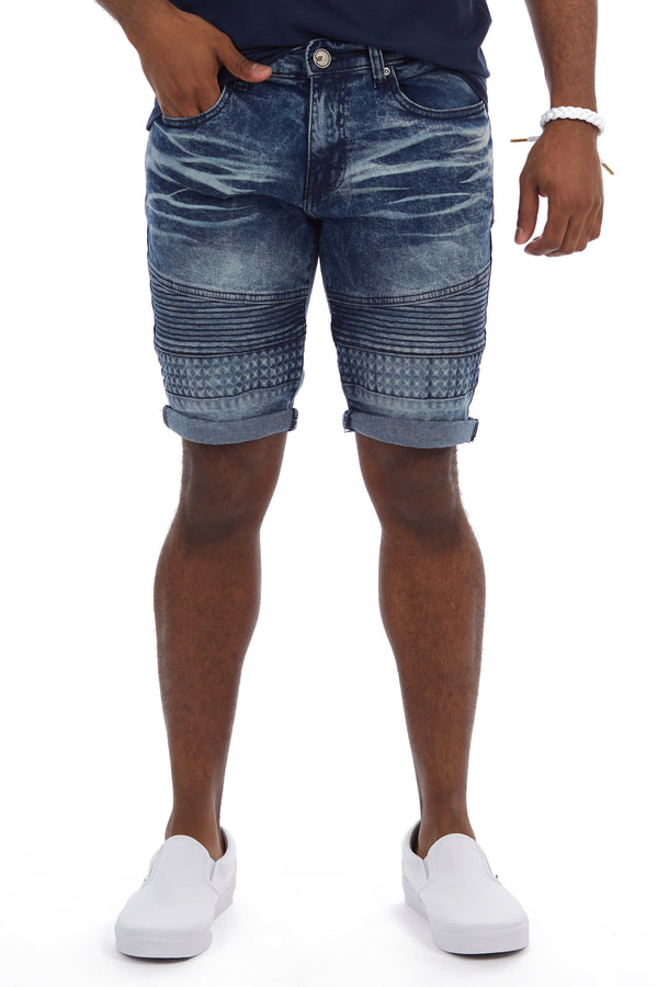 XMS-98331-MEN'S ROLL CUFF DENIM SHORT