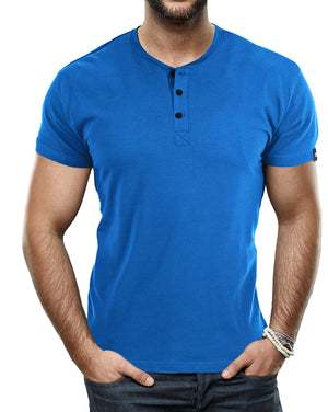 XMTS-27014-MEN'S SHORT SLEEVES HENLEY T-SHIRT