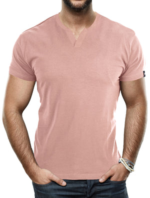 XMTS-27015-MEN'S SPLIT NECK T-SHIRT