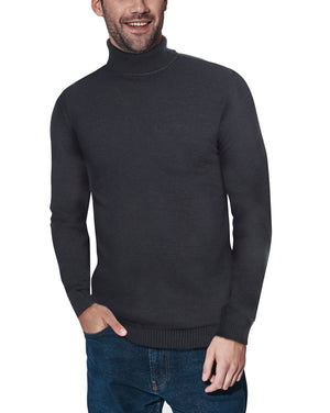 XMW-38087 | Classic Turtleneck Sweater Heather Charcoal