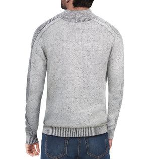 XMW-39039 | Quarter Zip Mock Neck Sweater Grey Marble