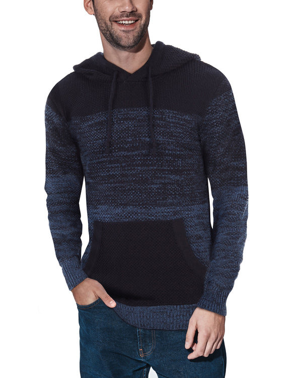 XMW-39066 | Colorblock Knitted Pullover Hooded Sweater Blue