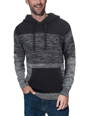 XMW-39066 | Colorblock Knitted Pullover Hooded Sweater Grey