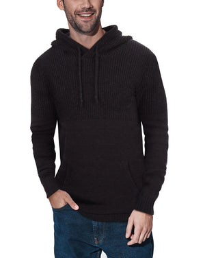 XMW-39069 | Textured Knit Hooded Sweater Black