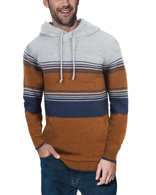 XMW-39074 | Multi Striped Hooded Sweater