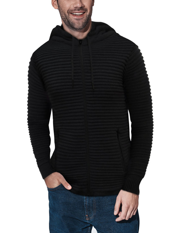 XMW-39121-Ribbed Full Zip Hoodie Black