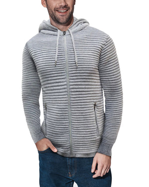 XMW-39121-Ribbed Full Zip Hoodie Grey