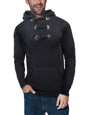 XMW-39123 | Toggle Accent Pullover Hoodie Heather Black