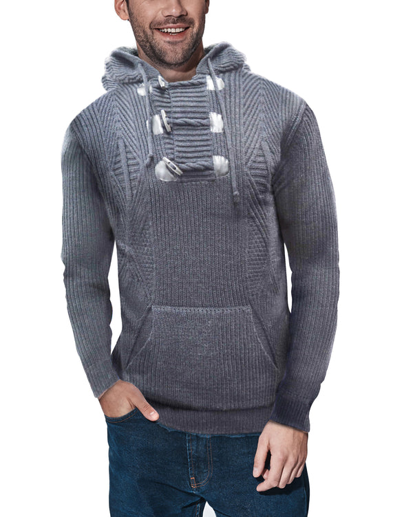 XMW-39123 | Toggle Accent Pullover Hoodie Heather Grey