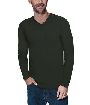 XMW-39137 | Classic V-Neck Sweater Olive