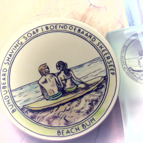 Beach bum shaving soap and aftershave.