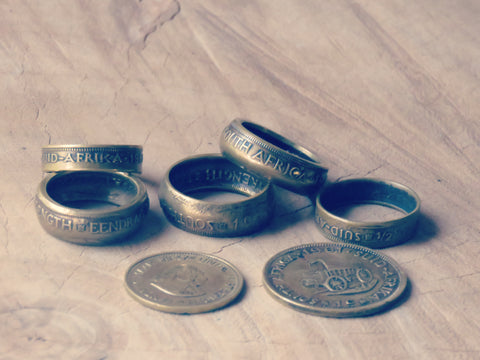 Coin rings made of copper and brass (Old SA coins)