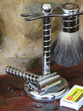 Razor, stand and brush. Spiraled Chrome finish - Bundubeard