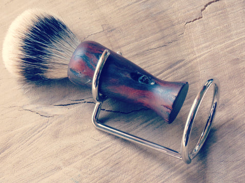 Brush stand, roundbar in chrome finish. - Bundubeard