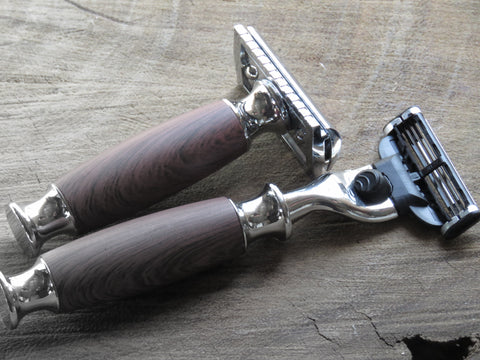 Cartridge/Safety Razor in dark wood vinyl wrap - Bundubeard