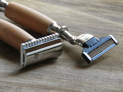 Cartridge/Safety Razor in light wood vinyl wrap - Bundubeard